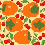 Seamless pattern with persimmon and cherries Royalty Free Stock Photography