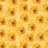 Seamless pattern of persimmon in Heart and Paisley Stock Images