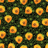 Seamless pattern of persimmon and Paisley Royalty Free Stock Images