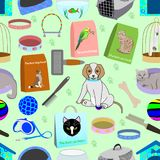 Seamless pattern for a pet shop, consisting of 22 different elements. Seamless pattern for a pet shop  - birdcage, bowl, toys, aquarium, pet food, combs, leash Royalty Free Stock Images