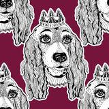 Seamless pattern of pet Spaniel dog with crown. vector illustration