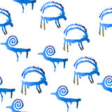 Seamless pattern with petroglyph goats. Seamless pattern with watercolor petroglyph goats and rams. Handmade blue watercolor primitive animals on white Royalty Free Stock Photography