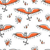 Seamless pattern with phoenix and feathers. Cute childish illustration. Background with cartoon fire bird and burning feathers Stock Images