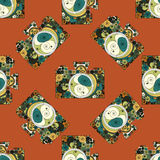 Seamless pattern with photographic cameras drown in quilling colorfull style Stock Images