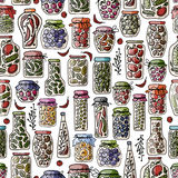 Seamless pattern with pickle jars fruits and Royalty Free Stock Photos