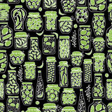 Seamless pattern with pickle jars fruits  Stock Photography
