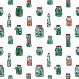 Seamless pattern with pickled vegetables. Backdrop with preserved food ingredients in glass jars and bottles hand drawn Stock Photography