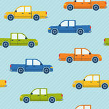 Seamless pattern with pickup cars Stock Images
