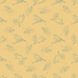 Seamless pattern with pictures of birds, mountain ash Royalty Free Stock Photo