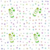 Seamless pattern with pictures of funny caterpillar in the style of children`s drawing - green black white color Royalty Free Stock Photo