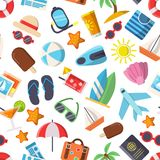 Seamless pattern with pictures of summer symbols royalty free illustration