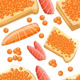Seamless pattern piece of fresh red salmon fish caviar fillets and tasty bread with butter illustration on white background. Web site page and mobile app design vector illustration