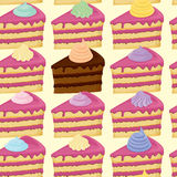 Seamless pattern with pieces of cakes. Stock Images