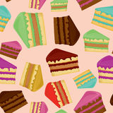 Seamless pattern with pieces of cakes. Royalty Free Stock Images