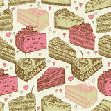 Seamless pattern with pieces of cakes, pies in doodle vintage style. Royalty Free Stock Image