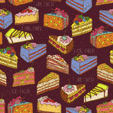 Seamless pattern with pieces of cakes, pies in doodle vintage style. Stock Photos