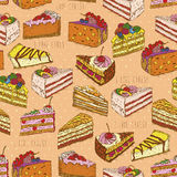 Seamless pattern with pieces of cakes, pies in doodle vintage style Stock Photos
