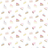 Seamless pattern with pieces of cakes. Vector. Royalty Free Stock Photo