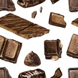 Seamless pattern with pieces of chocolate Stock Images