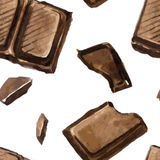 Seamless pattern with pieces of chocolate Stock Image