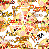Seamless pattern with pieces of pizza and the name of the pizza. Stock Photography
