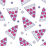 Seamless pattern with pieces of pizza pepperoni. Thin line flat design. Fast food background.  royalty free illustration
