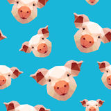 Seamless pattern - pig on blue background Royalty Free Stock Photo