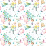 Seamless pattern of a pig, christmas tree, gingerbread, bag and gift. vector illustration