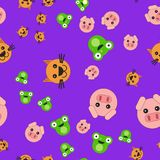 Seamless pattern of pig head cat and frog vector illustration