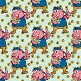 Seamless pattern pig with money Stock Photos