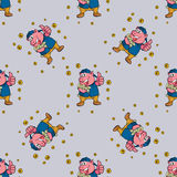 Seamless pattern pig with money Royalty Free Stock Image