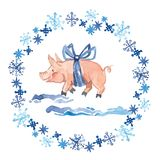 Seamless pattern of a pig, snowflakes, gingerbread, bag and gift.Christmas sketch.Symbol of the new year.Watercolor hand royalty free illustration