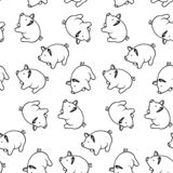Seamless pattern 2019 with pig, vector. Doodle syle stock illustration