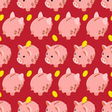 Seamless pattern with piggy bank Royalty Free Stock Photo