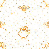 Seamless pattern with piggy bank. Money pattern. vector Stock Photos