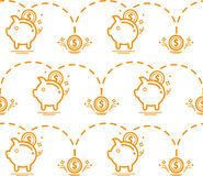 Seamless pattern with piggy bank. Money pattern. vector Royalty Free Stock Images