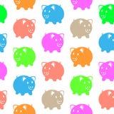 Seamless pattern with piggy Stock Photos