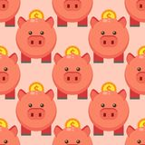 Seamless pattern piggy money bank cartoon pig. With coin currency animal background vector illustration. Economy financial investment save wealth banking Royalty Free Stock Photography