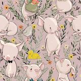 Seamless pattern with pigs. Seamless pattern with cartoon pigs and flowers Royalty Free Stock Images