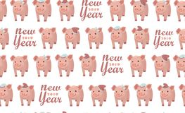 Seamless pattern with pigs, vector textile fabric print. New year 2019. Seamless pattern with pigs, vector textile fabric print.Vector illustration EPS 10 file stock illustration