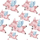 Seamless pattern with pigs with wings. Piggy angel flying in the sky on a white background. stock illustration