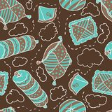 Seamless pattern from pillows. Vector hand drawn Royalty Free Stock Photos
