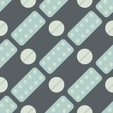 Seamless pattern with pills and capsules background simple flat painkiller pharmaceutical vector illustration. Royalty Free Stock Photos