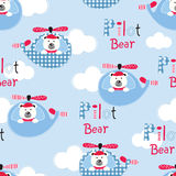 Seamless pattern with pilot bears Stock Image