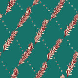 Seamless pattern with pine branches. Vector. Stock Image