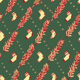 Seamless pattern with pine branches. Vector. Stock Images