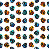 Seamless pattern with pine cones. Fir, cedar, spruce tree background. Vector forest illustration. Autumn, winter, spring and summer symbols and elements of stock illustration