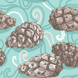 Seamless pattern with Pine cones and frosty patterns. Brown and. Blue. Sketch Royalty Free Stock Image