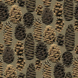 Seamless pattern of the pine cones Stock Photography