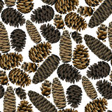 Seamless pattern of the pine cones Royalty Free Stock Images